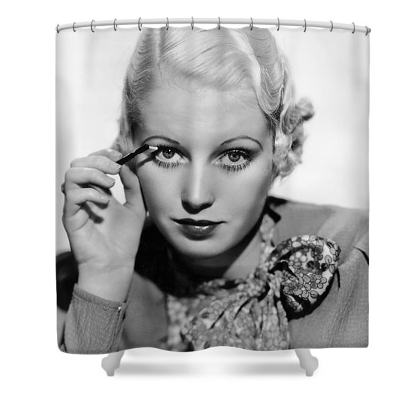 Actress Curls Her Lashes Shower Curtain