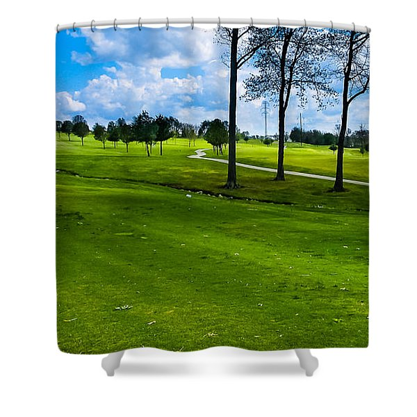Addressing The Ball  Shower Curtain