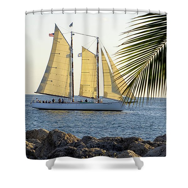 Sailing On The Adirondack In Key West Shower Curtain