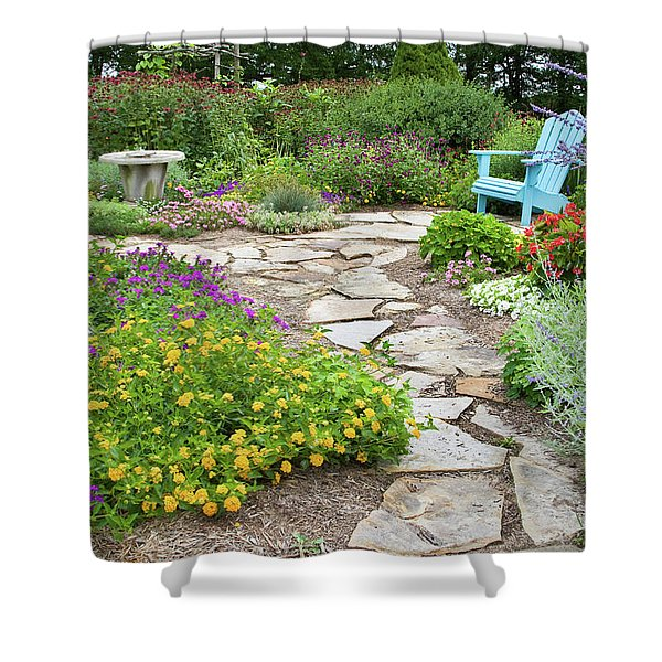 Adirondack Chair And Flowers Shower Curtain