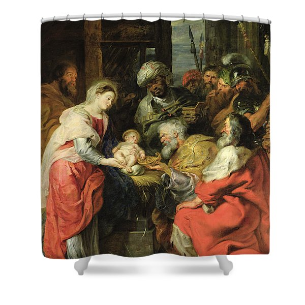 Adoration Of The Magi, 1626-29 Oil Canvas Shower Curtain