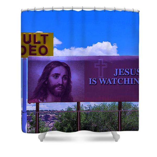 Adult Video With Billboard Shower Curtain
