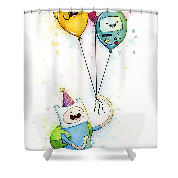 Adventure Time Finn With Birthday Balloons Jake Princess Bubblegum Bmo Shower Curtain