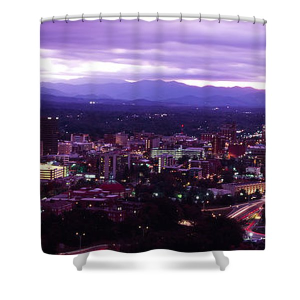 Aerial View Of A City Lit Up At Dusk Shower Curtain