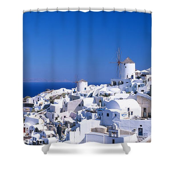 Aerial View Of Houses In A Town, Oia Shower Curtain