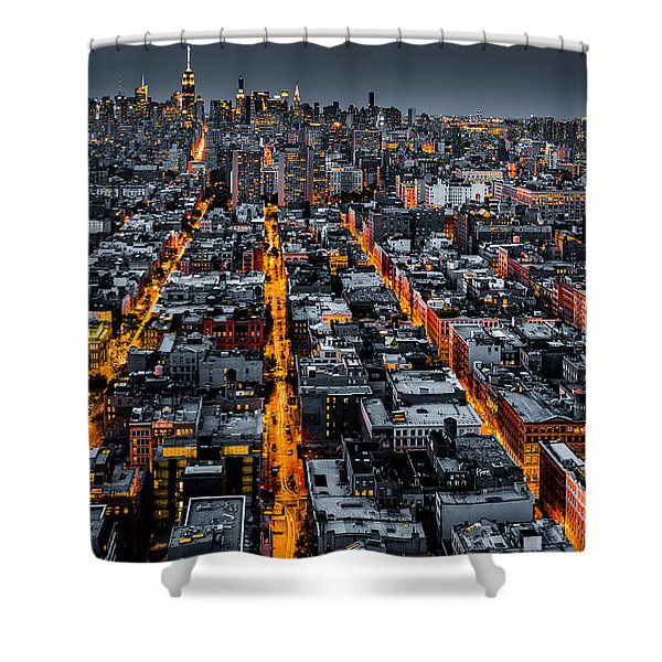 Aerial View Of New York City At Night Shower Curtain