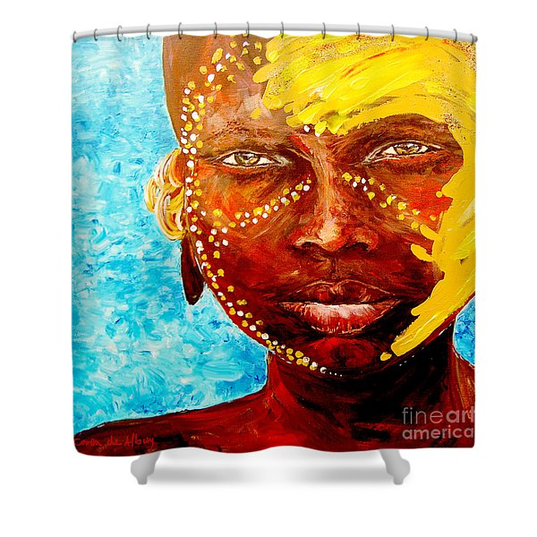 Omo Tribe Child Shower Curtain