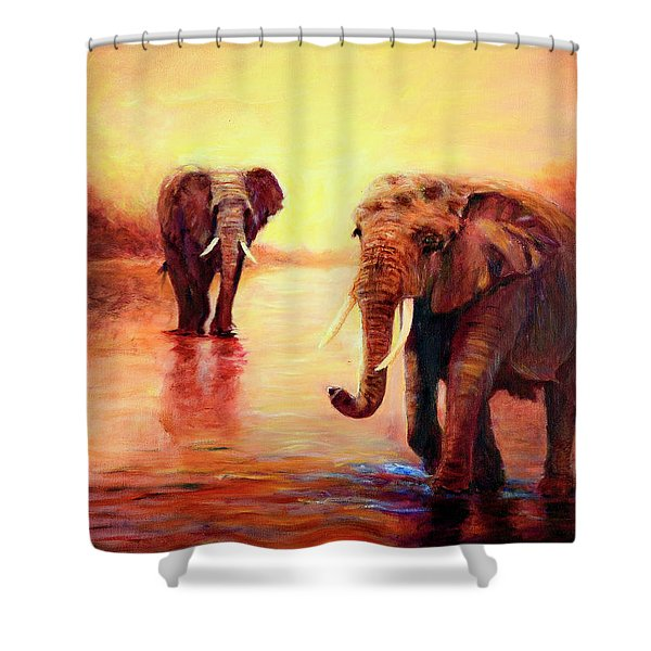 African Elephants At Sunset In The Serengeti Shower Curtain