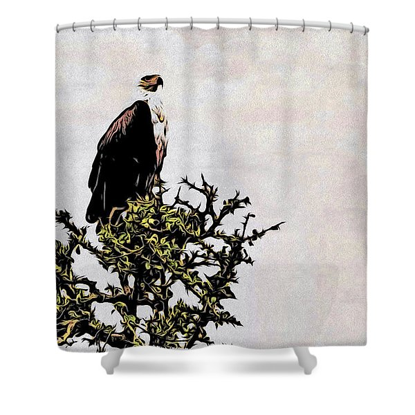 Shower Curtain featuring the photograph African Fish Eagle by Perla Copernik