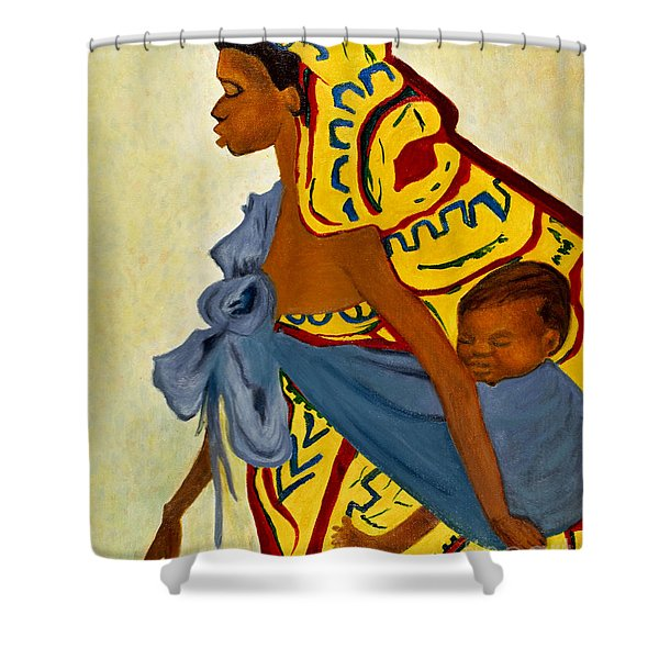 African Mother And Child Shower Curtain