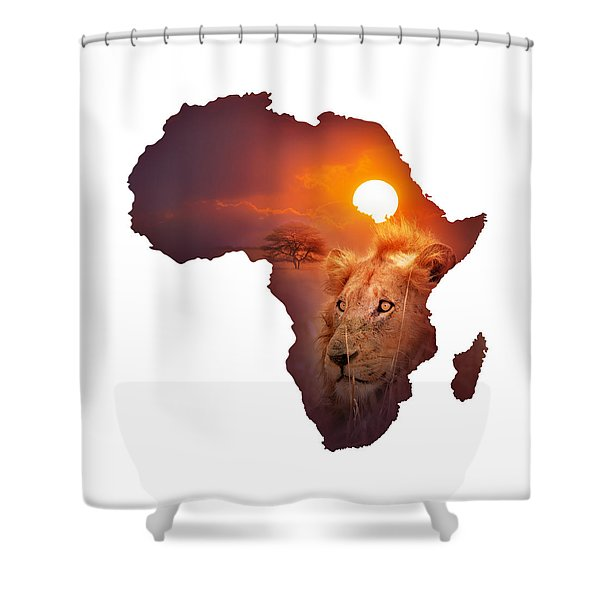 African Wildlife Map Shower Curtain
