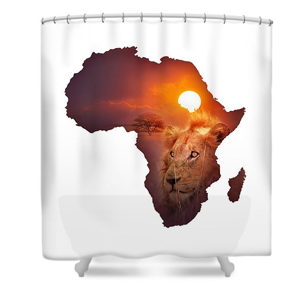 African Wildlife Map Shower Curtain