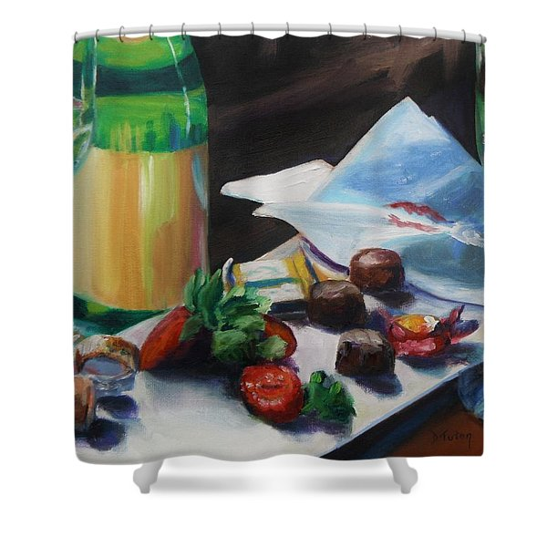 After The Party Shower Curtain by Donna Tuten
