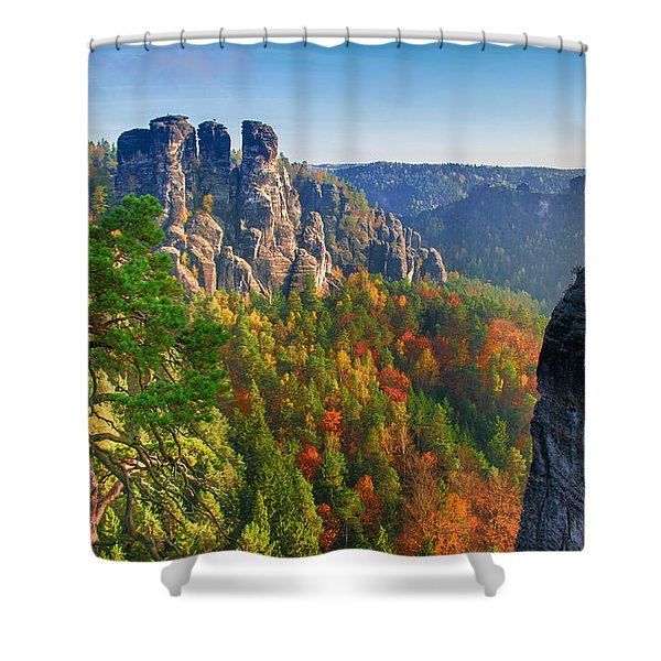 After The Sunrise On The Bastei Shower Curtain