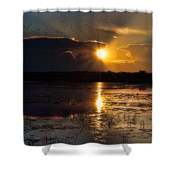 Late Afternoon Reflection Shower Curtain