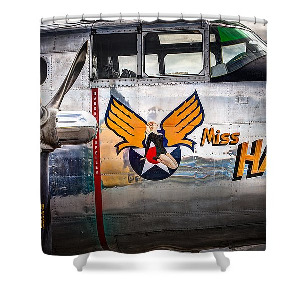 Aircraft Nose Art - Pinup Girl - Miss Hap Shower Curtain