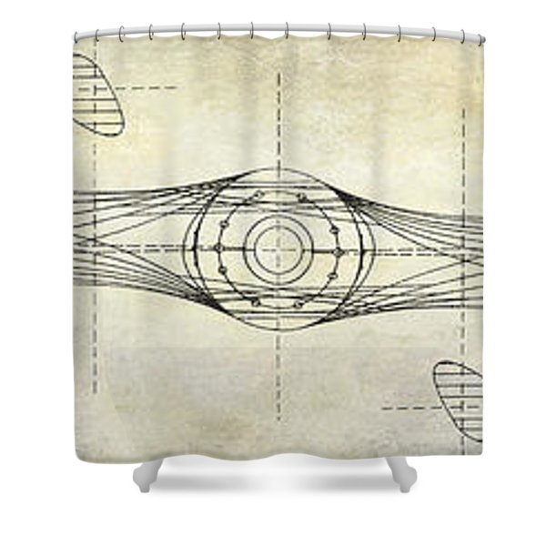 Aircraft Propeller Blueprint Drawing Shower Curtain