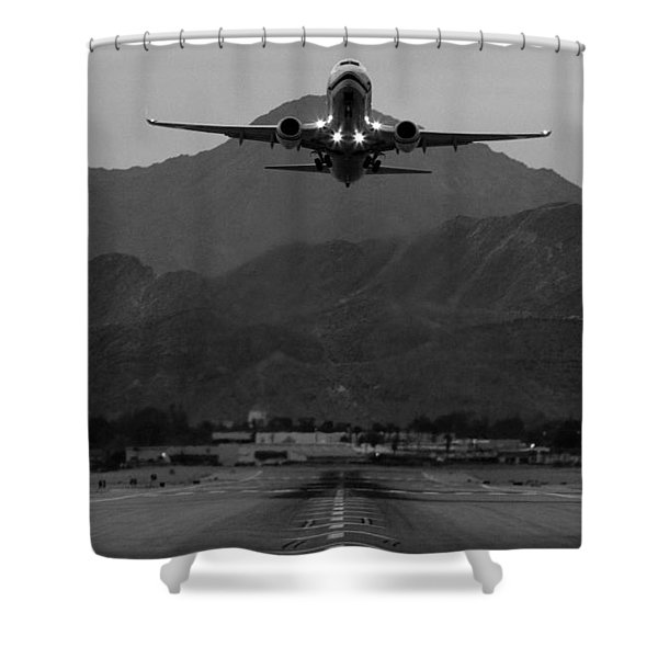 Alaska Airlines Palm Springs Takeoff Shower Curtain