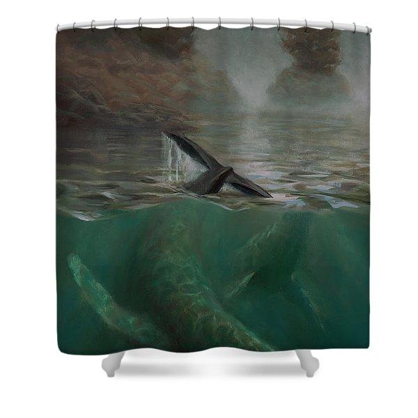 Humpback Whales - Underwater Marine - Coastal Alaska Scenery Shower Curtain