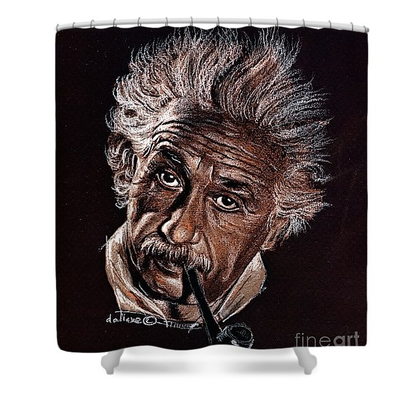 Albert Einstein Portrait Shower Curtain