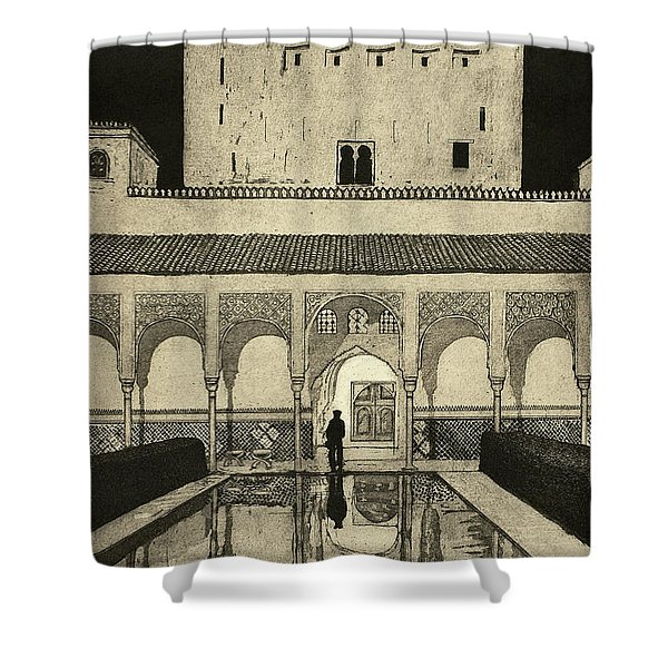 Alhambra At Night, 2010, (etching/aquatint) Shower Curtain