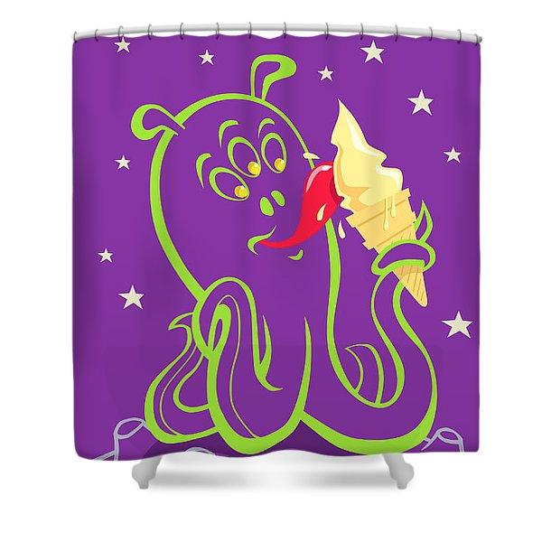 Alien Ice Cream -vector Version Shower Curtain