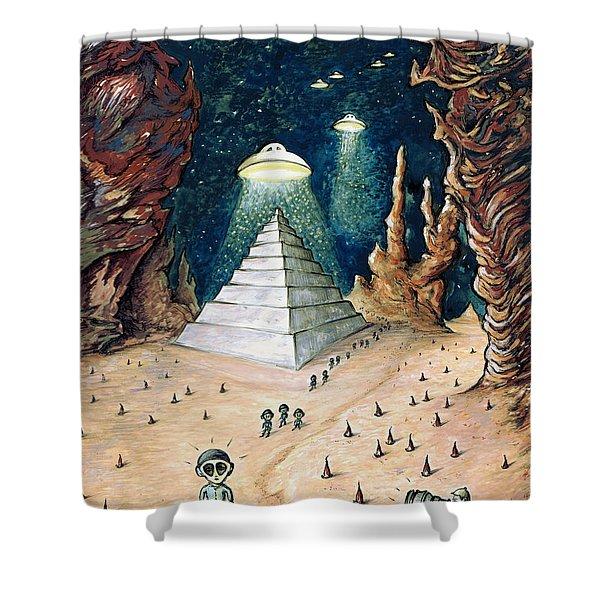 Alien Invasion - Space Art Painting Shower Curtain