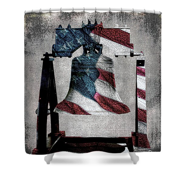 All American Liberty Bell Art_denim Shower Curtain