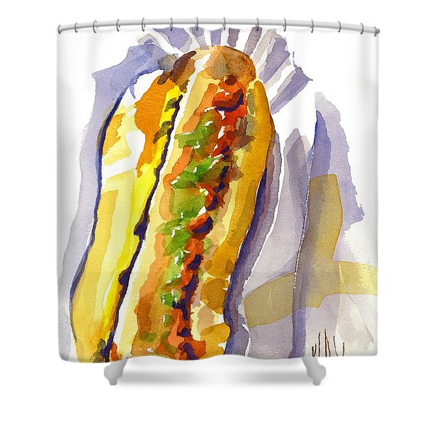 All Beef Ballpark Hot Dog With The Works To Go In Broad Daylight Shower Curtain