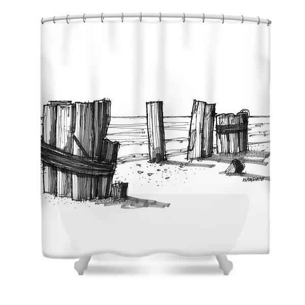 All That Remains Ocracoke 1970s Shower Curtain