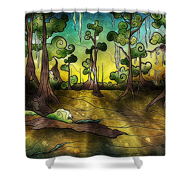Alligator Swamp Shower Curtain