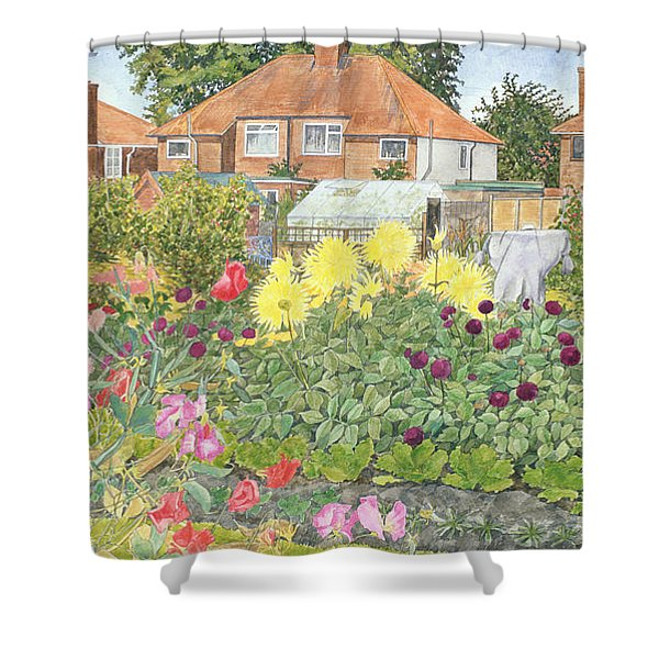 Allotments And Dahlias Shower Curtain