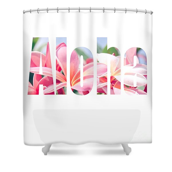 Aloha Tropical Plumeria Typography Shower Curtain