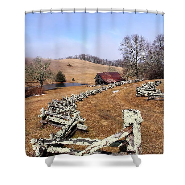 Along The Locust Rails Shower Curtain