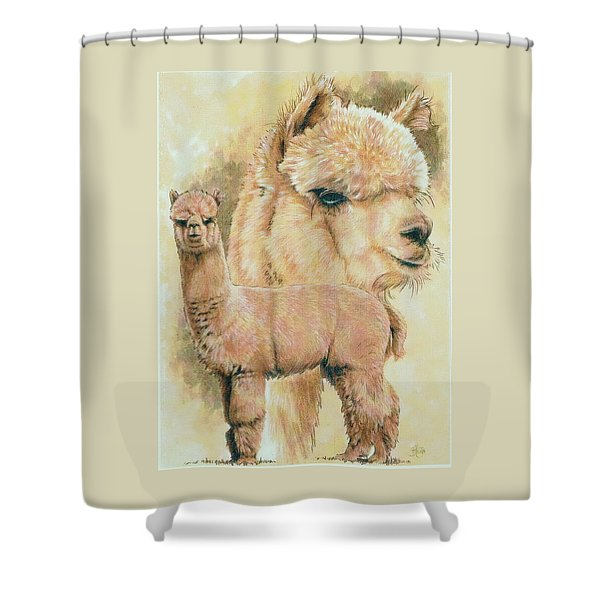 Shower Curtain featuring the mixed media Alpaca by Barbara Keith
