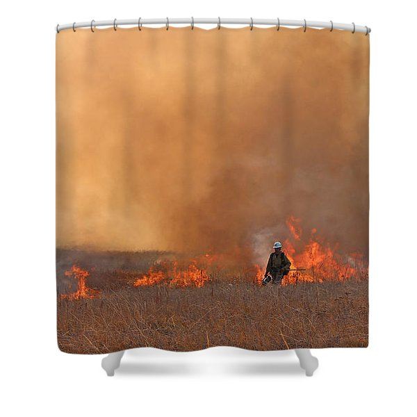 Alpine Hotshots Ignite The Norbeck Prescribed Fire. Shower Curtain