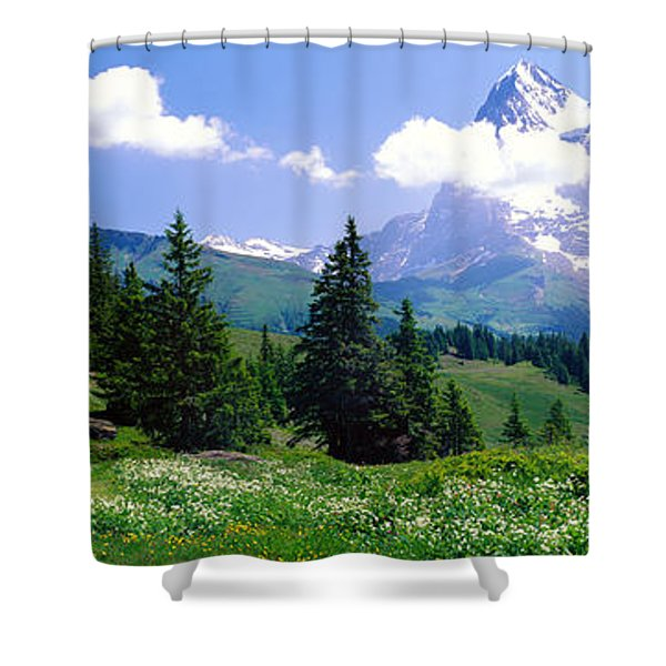 Alpine Scene Near Murren Switzerland Shower Curtain