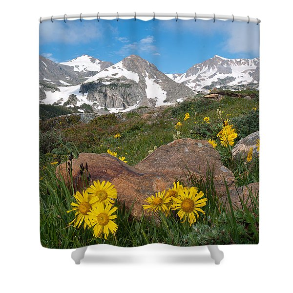 Alpine Sunflower Mountain Landscape Shower Curtain