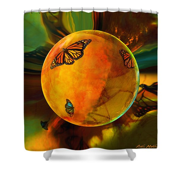 Ambered Butterfly Orb Shower Curtain