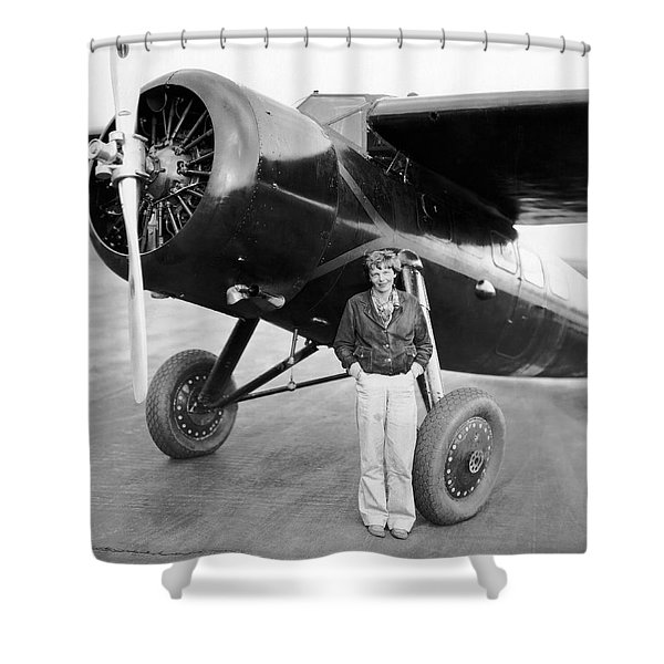 Amelia Earhart And Her Plane Shower Curtain