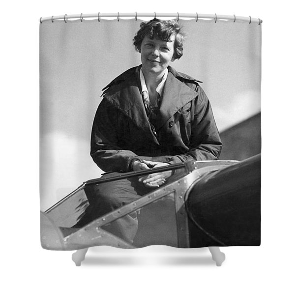 Amelia Earhart In Cockpit Shower Curtain