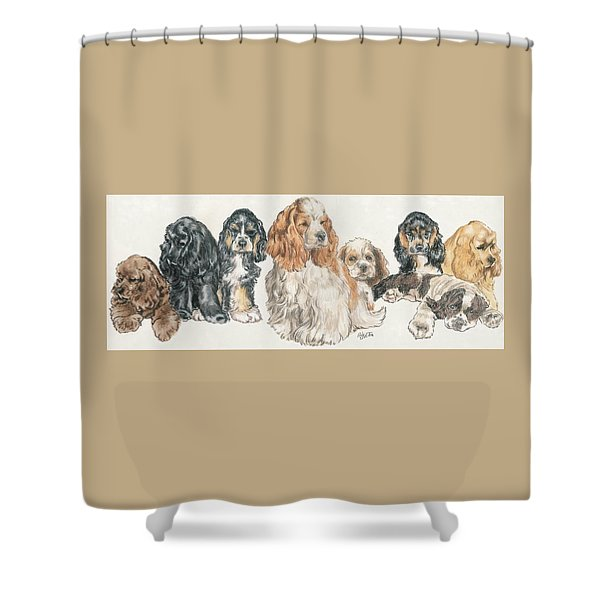 Shower Curtain featuring the mixed media American Cocker Spaniel Puppies by Barbara Keith