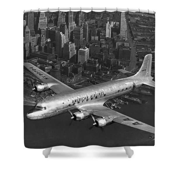 American Dc-6 Flying Over Nyc Shower Curtain