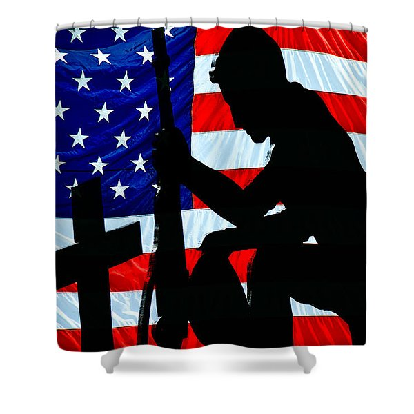 A Time To Remember American Flag At Rest Shower Curtain