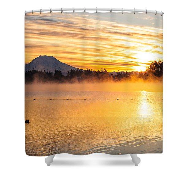 American Lake Misty Sunrise Shower Curtain