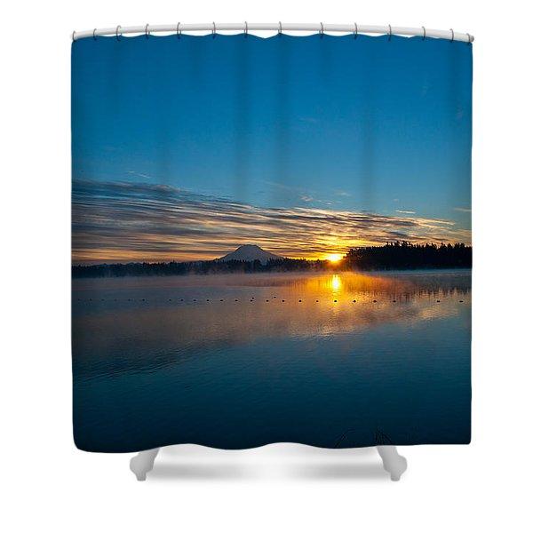 American Lake Sunrise Shower Curtain