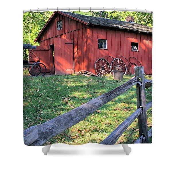Amish Barn Along A Fenceline Shower Curtain