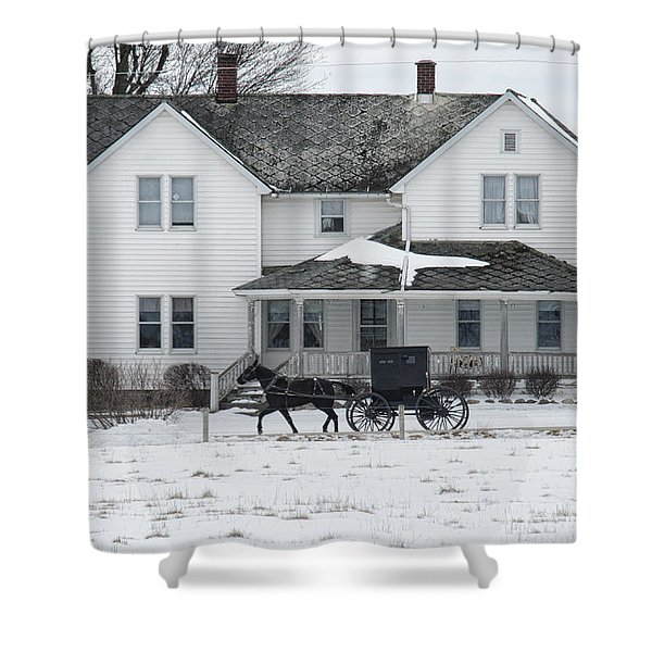 Amish Buggy And Amish House Shower Curtain