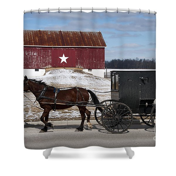 Amish Buggy And The Star Barn Shower Curtain