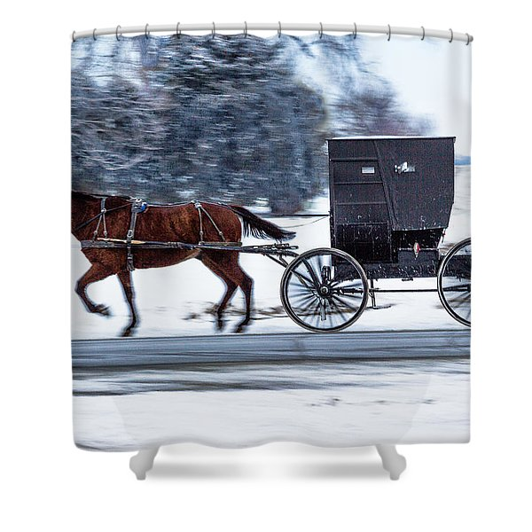 Amish Buggy In Winter Shower Curtain